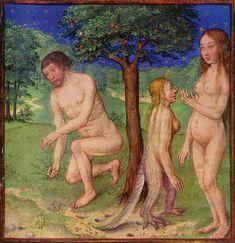 Illuminazione/ Manoscritto XV sec  Adam, Eve, Lilith