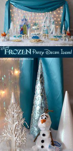 Disney Frozen Party Decor Ideas!  Need to make the glitter trees.