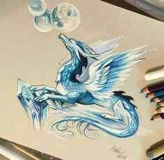 Ice Dragon by Katy Lipscomb, colored pencil, 2015 Fantasy Drawings, Cool Drawings, Fantasy Art, Mythical Creatures Art, Fantasy Creatures, Ice Dragon, Water Dragon, Clay Dragon, Dragon Head