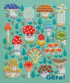 Mushroom Family Sampler. Free cross stitch PDF pattern. Click link then…