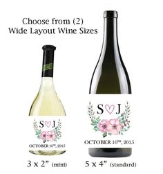 """Floral Mini & Standard Wine Labels, Personalized Wine Label Design, Mini 3 x 2"""" or Standard 5 x 4"""" Wine Labels"""