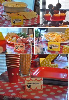 Mickey Mouse Clubhouse Birthday Party Food Table (Menu Included) || Printable Food Labels Free