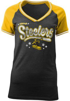 Pittsburgh Steelers Womens Black Triblend V-Neck Pittsburgh Steelers  Merchandise 13cac6243
