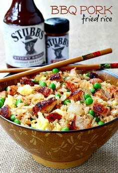 Easy Rice Recipes - Quick Recipe Ideas to Make With a Bag of Rice - BBQ Pork Fried Rice Recipe- Healthy Recipes With Brown, White and Arborio Rice Asian Recipes, Healthy Recipes, Ethnic Recipes, Healthy Food, Good Food, Yummy Food, Pork Dishes, Side Dishes, Main Dishes
