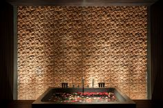 Amazing Wall detail at the treatment room, Alila Villa Soori, Bali Spa Design, Wall Design, Spas, Fresco, Scda Architects, Whiskey Room, Spa Treatment Room, Spa Lighting, Holiday Hotel