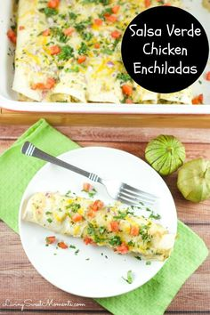 Easy Salsa Verde Chicken Enchiladas – Delicious creamy chicken enchiladas baked with a delicious salsa verde sauce. I used store bought chicken to save time via Living Sweet Moments