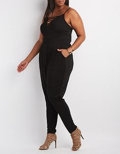 3925e0de5848 Plus Size Caged Sweetheart Jumpsuit  Charlotte Russe Cute Casual Outfits