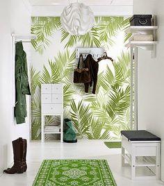 Wall paper accent wall livingroom ideas interior design Ideas for 2019 Tropical Home Decor, Tropical Houses, Tropical Interior, Tropical Colors, Tropical Furniture, Tropical Leaves, Halls Pequenos, Deco Jungle, Jungle Art