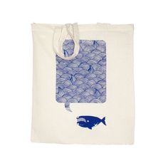 Waves Whale Song Navy Eco Friendly Canvas Shopper Hand Pulled via Etsy