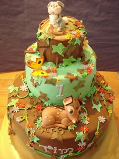 Bambi Maked this cake for a boy for his 1st birthday. All fondant.