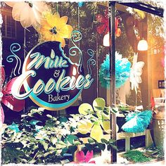 The window of the Milk & Cookies Bakery in the West Village, NYC.