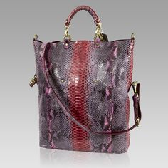 Ghibli Italian Designer Pink Python Leather Large Tote Convertible Bag