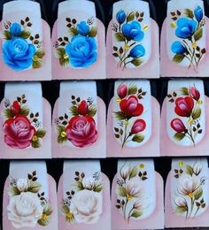 Pedicure, Nail Designs, Nail Art, Stickers, Nails, Floral, Painting, Inspiration, White Nail Beds