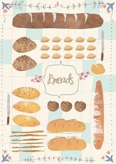 Breads!  Studio Fifteen - Culinary Centre, Mumbai. Illustration by Svabhu Kohli
