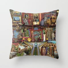 The Museum Shelf Couch Throw Pillow by Aimee Stewart - Cover x with pillow insert - Indoor Pillow Throw Cushions, Couch Pillows, Designer Throw Pillows, Down Pillows, Accent Pillows, Fluffy Pillows, Pillow Inserts, All The Colors, Hand Sewing