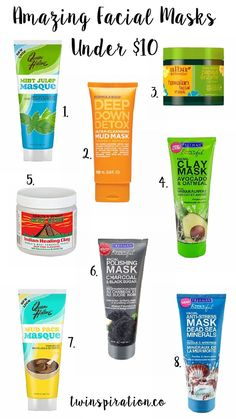Amazing Facial Masks Under $10 by Twinspiration at twinspiration.co/...