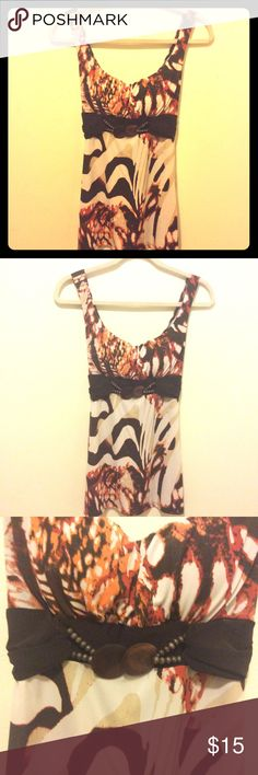 """Top by Wrapper Multi colors (cream/tan/brown/orange/rust) tank top by Wrapper, size M.  Length is 28"""". Wrapper Tops Tank Tops"""