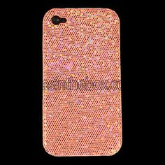 Orange Magnificent Glittery Evening Dress Pattern Faux Leather Coated Back Case Cover for iPhone 4/4S