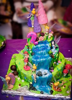 TINKERBELL CAKE WITH CASTLE AND WATERFALL