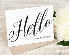 Personalized Hello Note Card Set / Folded Stationery by CurioPress