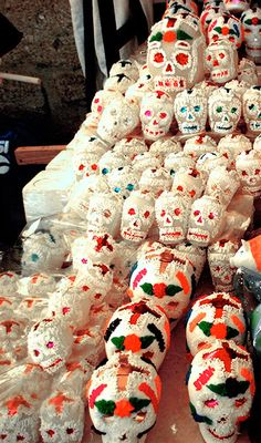 'Calaveritas are sugar skulls made to celebrate the Day of the Dead. You can find them in every bakery along with a special sweet bread named Pan de Muerto (bread of the dead)'