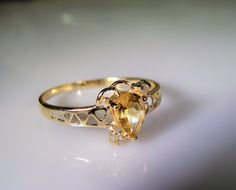 1970s, 10K Gold Ring, Citrine & Diamond Ring, Pear Shaped Citrine Ring, Genuine Citrine Ring, Natural Citrine Ring, Vintage Ring – Size 6.75 by CarolsVintageJewelry on Etsy