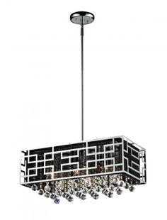 Crystal danube crystal strands 33 wide pendant chandelier six light chrome black shade down chandelier sku v276 870ch cartwright lighting aloadofball Choice Image