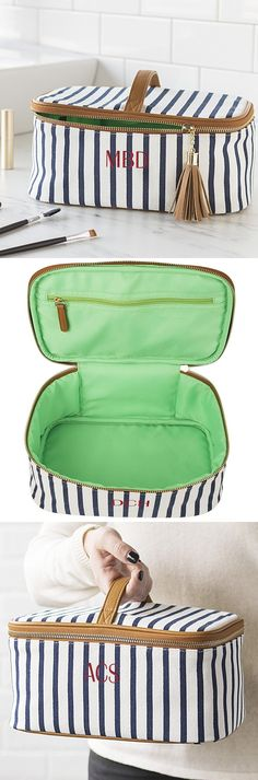 Bridesmaid Cosmetic Bag Gift - Give your maid of honor and bridesmaids a train case style cosmetic bag to keep their makeup and toiletries in when traveling to your destination wedding, on vacation or a weekend getaway. This white and navy blue striped cosmetic travel bag can be purchased at https://myweddingreceptionideas.com/cosmetic-bag-white-navy-stripe-train-case.asp