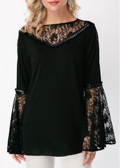 Flare Sleeve Lace Stitching Back Blouse | liligal.com - USD $30.16