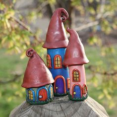 Three Faerie Houses by suzicq, via Flickr - it will so fun if I have some granddaughters to make fun things like this for/with them