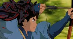 Princess Mononoke was Miyazaki's first film to use computer graphics. In this sequence, the demon snakes are computer-generated and composit...