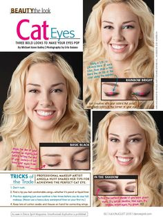 3 Different Versions Of Cat Eyes By Erin Baiano Eyes Fashion And Beauty Tips Dance Audition