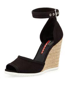 Gabardine Rope Wedge Sandal, Nero by Prada at Bergdorf Goodman.
