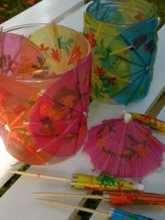DIY Tissue Paper Cocktail Umbrellas Covered Lantern/Votive Candle Holder