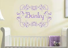 Shabby Chic Girl Wall Decal Name Frame Nursery Toddler Sicker Decor. $33.00, via Etsy.