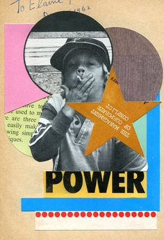 3rd Power - 2012 by Fred One Litch    collage on paper.