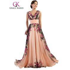 Grâce Karin Sexy Dos Nu Fleur Longue Robe De Soirée Profonde V cou Floral Formelle Robes En Mousseline de Soie Robe De Soirée Parti Robes 2017