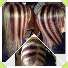 Chunky Highlight/lowlight  with blonde, dark mocha brown