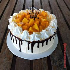 50 Most Beautiful looking Mango Cake Design that you can make or get it made on the coming birthday. Cake Decorating Frosting, Cake Decorating Designs, Cool Cake Designs, Easy Cake Decorating, Cake Decorating Techniques, Fancy Cakes, Mini Cakes, Fruit Cake Design, Mango Cake