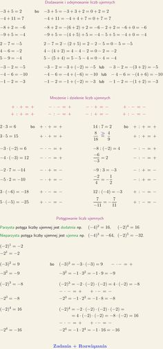 ania na liczbach ujemnych Maths Algebra, Math Math, Math Reference Sheet, School Notes, Study Notes, Coping Skills, Math Lessons, Self Improvement, Back To School