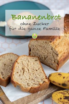 Saftiges und gesundes Bananenbrot ohne Zucker – MeineStube Recipe for a juicy and healthy banana bread without sugar. For the whole family for breakfast or as a snack in between. Also ideal for the breakfast box for kindergarten or school. – My room bread Healthy Recipes, Baby Food Recipes, Healthy Snacks, Healthy Eating, Healthy Banana Bread, Banana Bread Recipes, Banana Design, Banana Bread Without Sugar, Breakfast Recipes