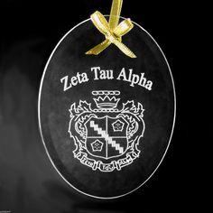 Zeta Tau Alpha ΖΤΑ Crest Beveled Oval Crystal Ornament Sun Catcher | eBay