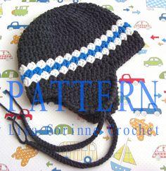 Boy's Earflap Hat Easy Crochet Pattern Striped Beanie Cap PDF Infant Hat Baby Fashion Modern Crochet. $4.95, via Etsy.