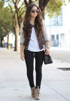Varsity jacket and suede boots