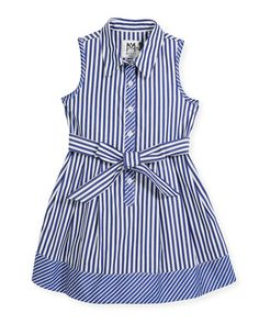 Milly Minis Sleeveless Striped Shirt Dress, Size and Matching Items Baby Girl Frocks, Frocks For Girls, Little Girl Dresses, Girls Dresses, Frock Design, Toddler Fashion, Fashion Kids, Dress Anak, Kids Frocks Design