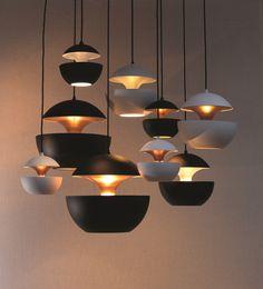 Aluminium pendant lamp HCS WH Ø250 Here Comes the Sun Collection by DCW éditions | design Bertrand Balas