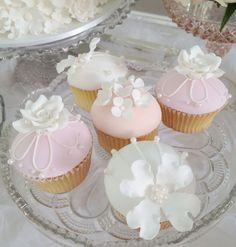 Pretty Pink & White Cupcakes with Sugar Pearls