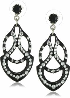 """Nouveau Deco"" Crystallized Carved Earrings by Tarina Tarantino"