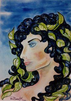 Portrait of a woman with Juliette. Watercolour on Gvarro. 11 in X 15 in. Rivera Fernández 2016