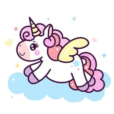 Illustrator of cute Unicorn cartoon on cloud(Vector): Pony horse: Series Happy Birthday, Kawaii style- card and Print for t-shirt. Romantic hand drawing or instructional media illustration for kid. Unicorn Drawing, Unicorn Art, Happy Unicorn, Unicorn Wallpaper Cute, Unicornios Wallpaper, Horse Cartoon, Unicorn Illustration, Unicorn Pictures, Pony Horse